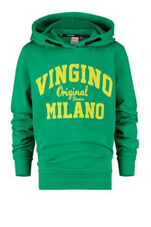 hoodie met logo groen/geel