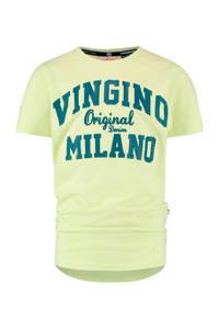 Vingino Essentials T-shirt met logo met biologisch katoen lichtgeel/blauw, Lichtgeel/blauw
