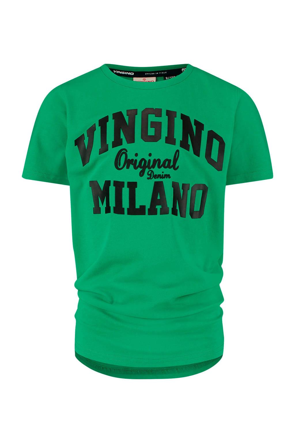 Vingino Essentials T-shirt met logo met biologisch katoen groen/zwart, Groen/zwart
