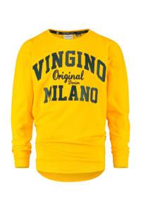 Vingino Essentials longsleeve met logo goudgeel/donkerblauw, Goudgeel/donkerblauw