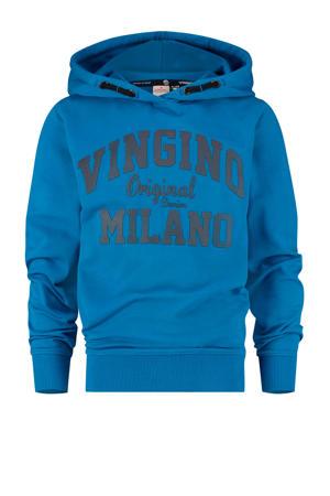 hoodie met logo blauw/zwart