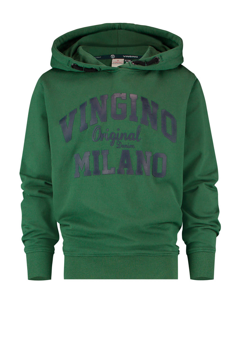 Vingino Essentials hoodie met logo donkergroen/zwart, Donkergroen/zwart