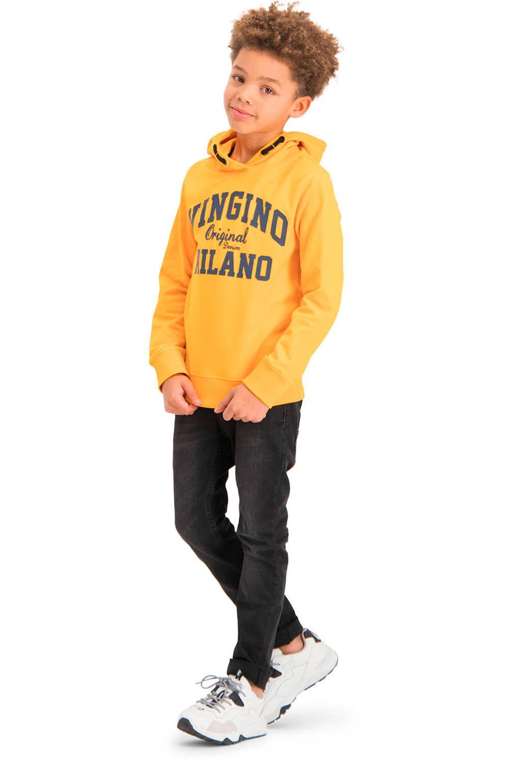 Vingino Essentials hoodie met logo goudgeel/zwart, Goudgeel/zwart