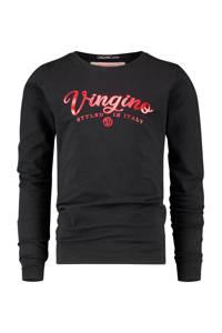 Vingino Essentials longsleeve met logo met biologisch katoen zwart, Zwart