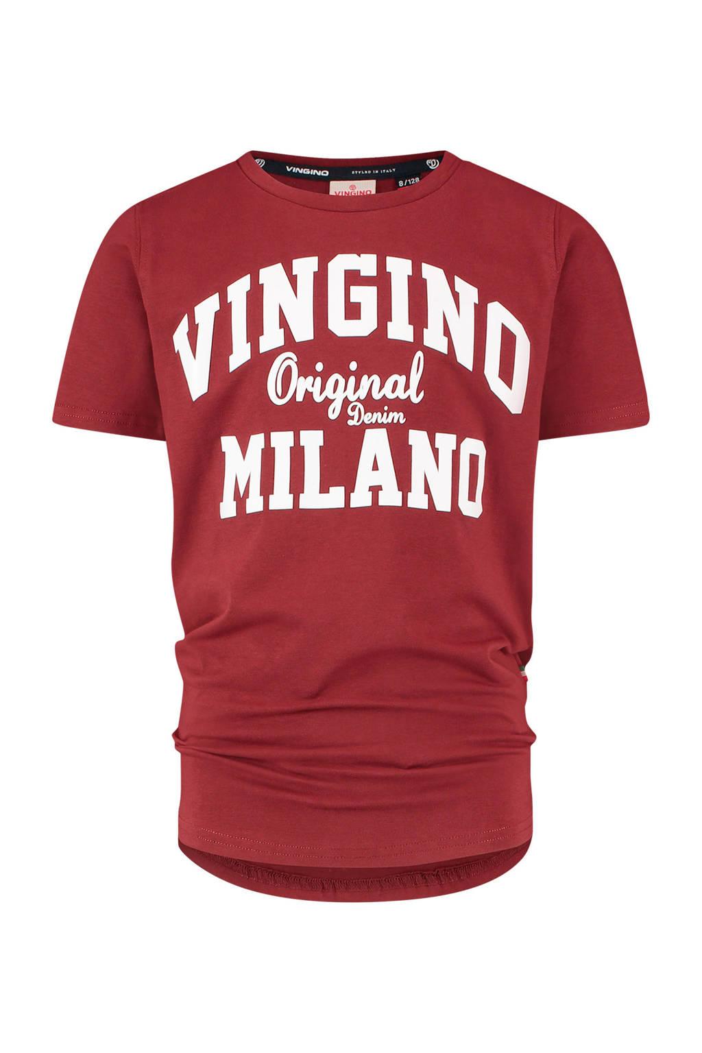 Vingino Essentials T-shirt met logo met biologisch katoen donkerrood/wit, Donkerrood/wit