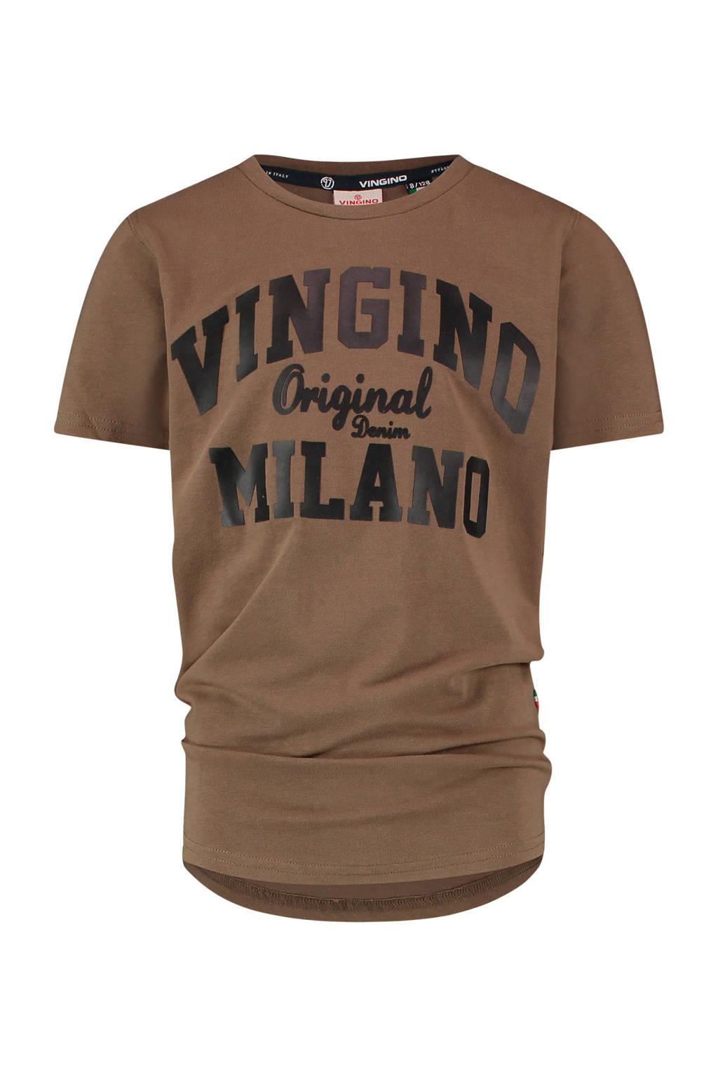 Vingino Essentials T-shirt met logo met biologisch katoen army groen/zwart, Army groen/zwart