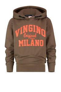 Vingino Essentials hoodie met logo army groen/oranje, Army groen/oranje