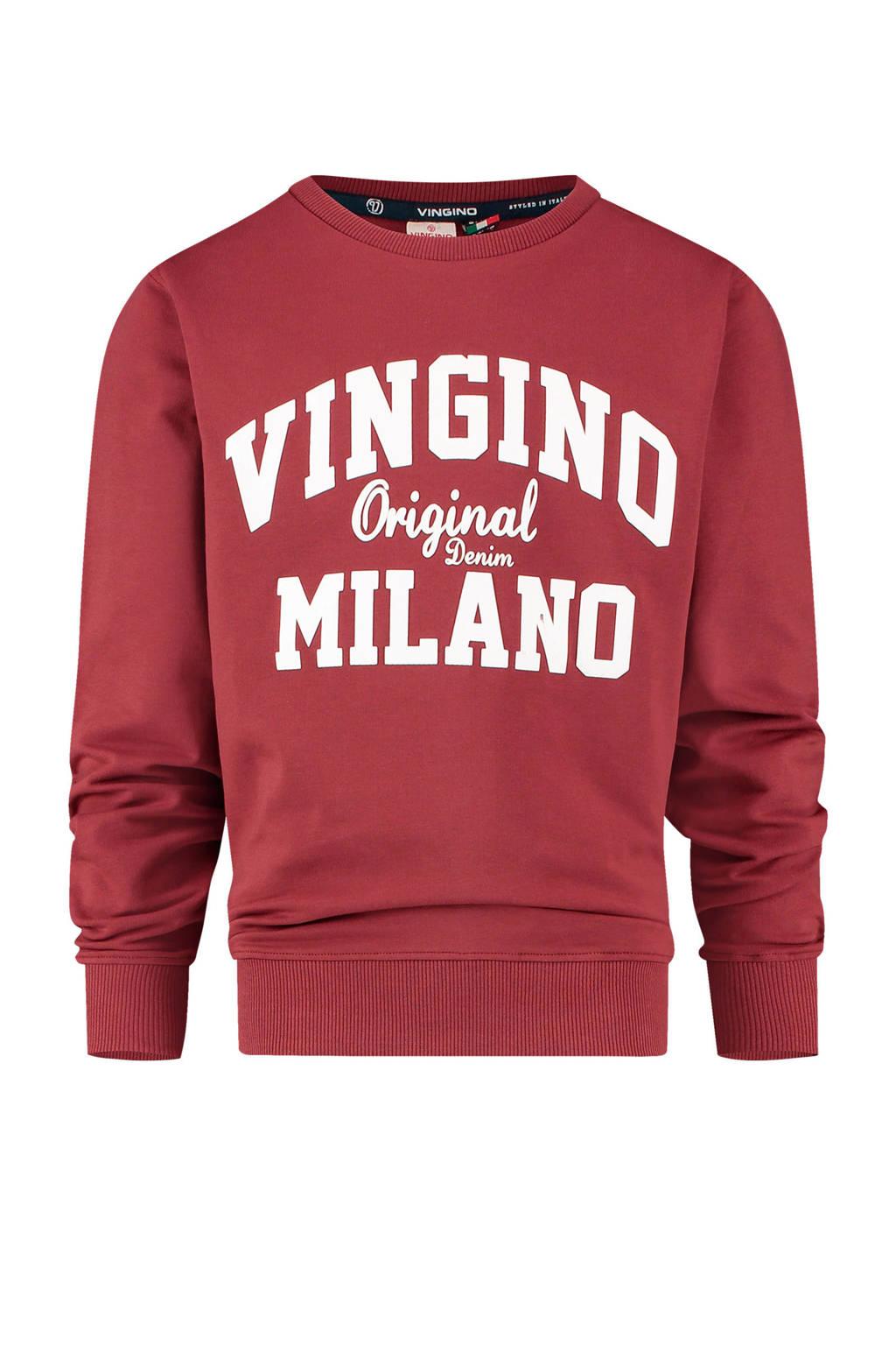 Vingino Essentials sweater met logo donkerrood/wit, Donkerrood/wit