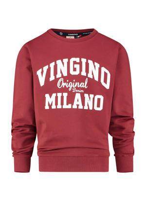 sweater met logo donkerrood/wit