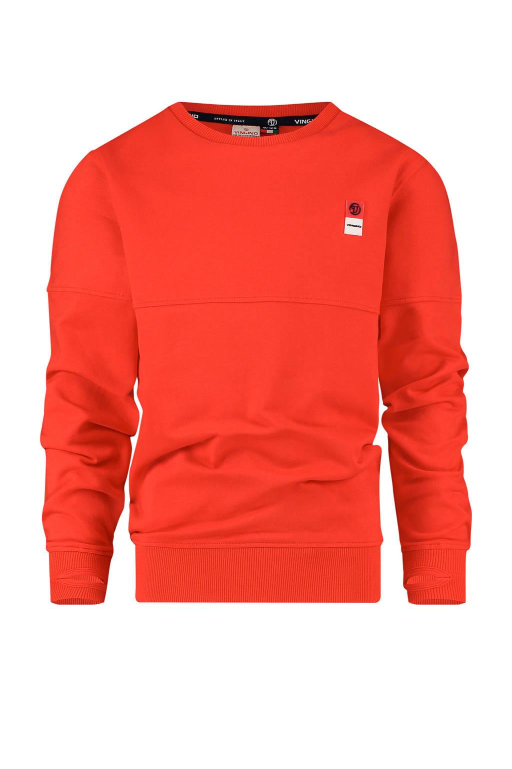 Vingino Essentials sweater met biologisch katoen felrood, Felrood