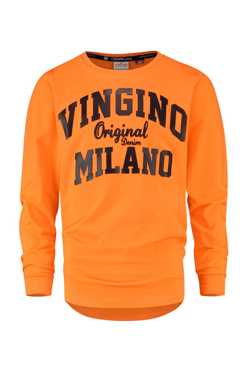 Vingino Essentials longsleeve met logo oranje/zwart, Oranje/zwart