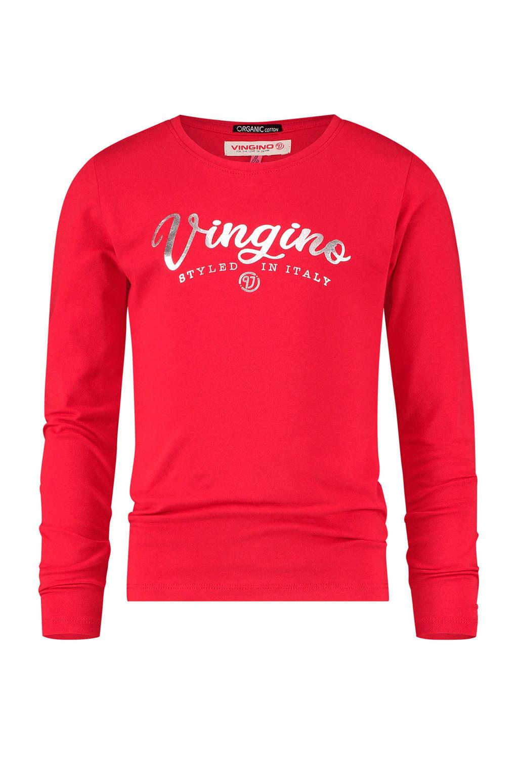 Vingino Essentials longsleeve met logo met biologisch katoen rood, Rood