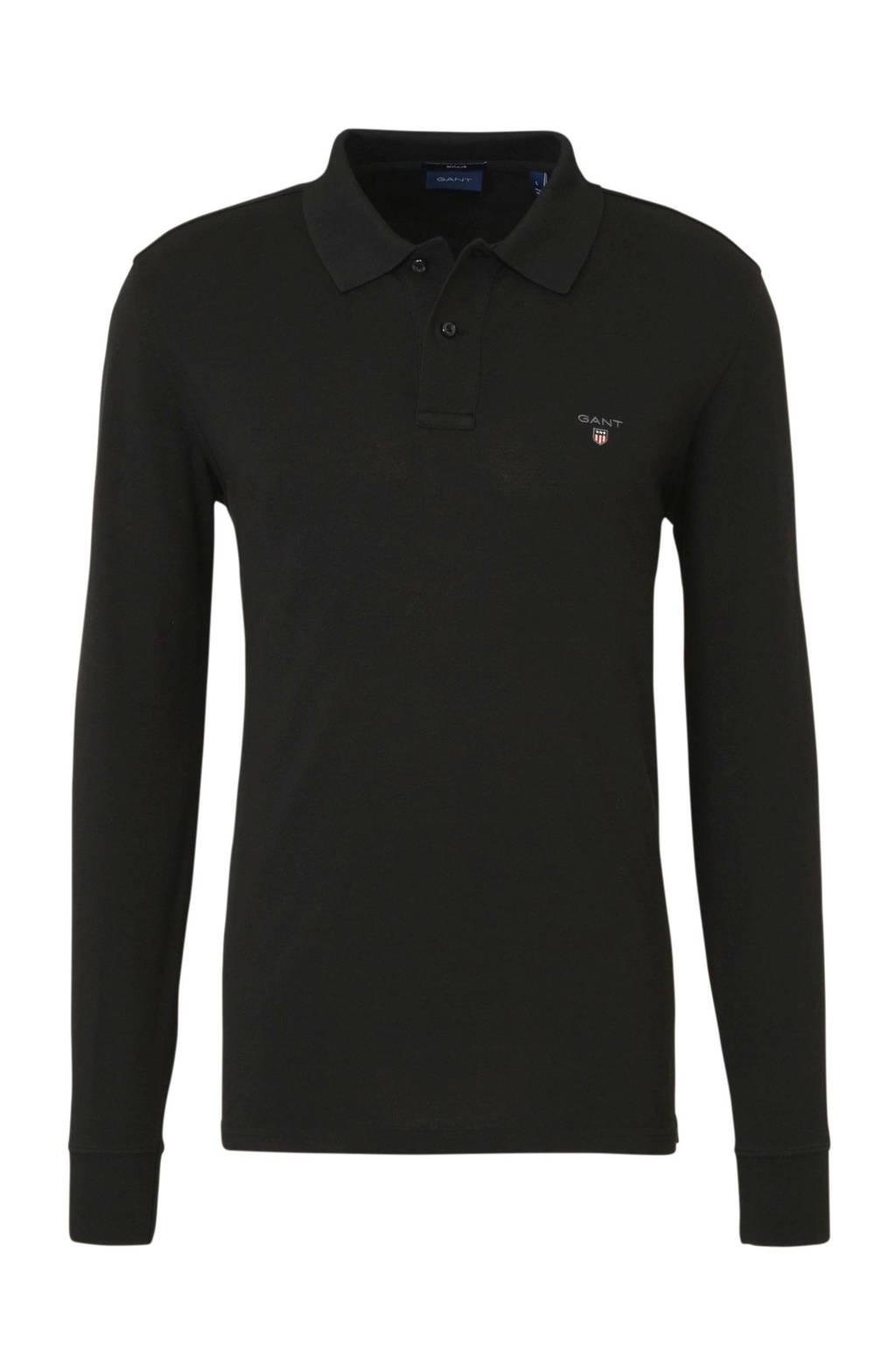 GANT regular fit polo met logo zwart, Zwart