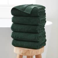 Wehkamp Home handdoek hotelkwaliteit (set van 5) (50x100 cm), Donkergroen