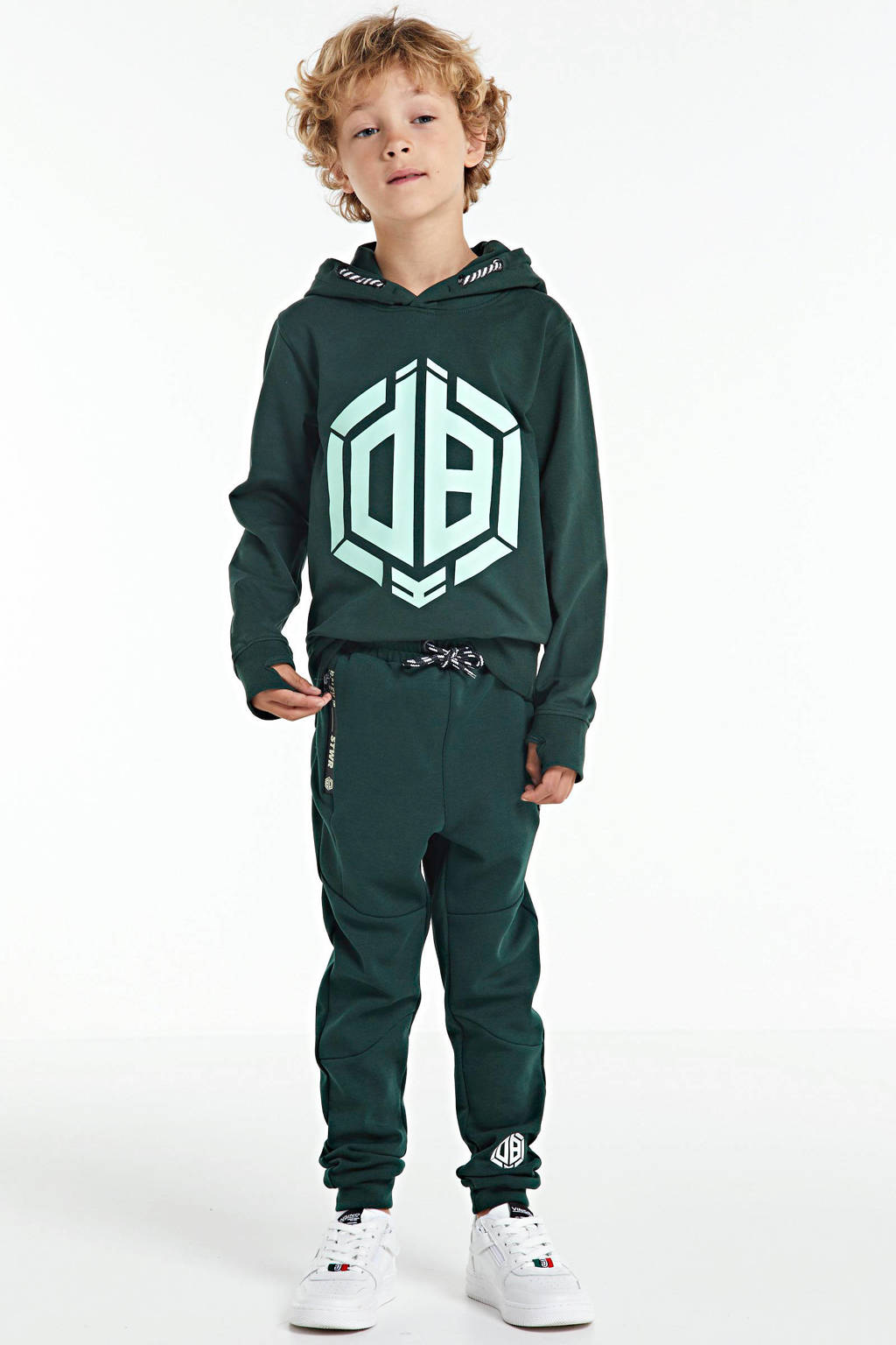 Vingino Daley Blind hoodie Nais met logo donkergroen/mintgroen, Donkergroen/mintgroen