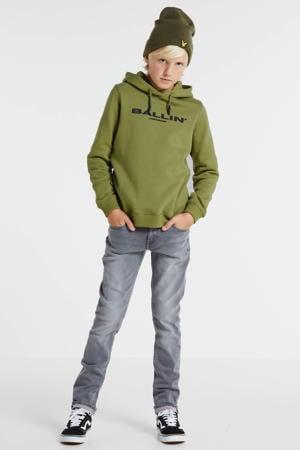 hoodie met logo legergroen/zwart
