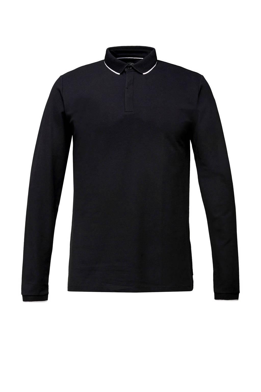 ESPRIT Men Collection slim fit polo zwart, Zwart