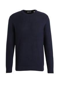 edc Men fijngebreide trui van biologisch katoen donkerblauw, Donkerblauw