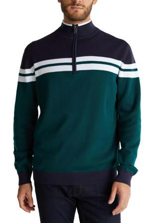fijngebreide trui van biologisch katoen donkergroen/wit/donkerblauw