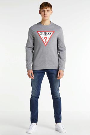 sweater Audley met logo grijs melange