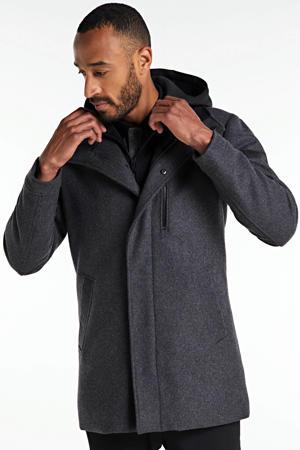 winterjas met wol grijs