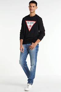 GUESS sweater Audley met logo zwart, Zwart