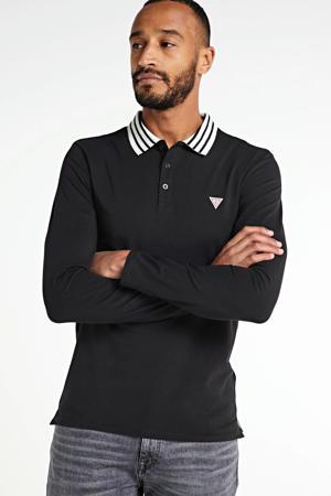 slim fit polo Oliver met contrastbies zwart
