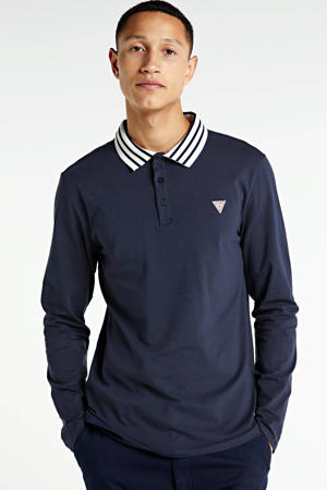 slim fit polo Oliver met contrastbies donkerblauw