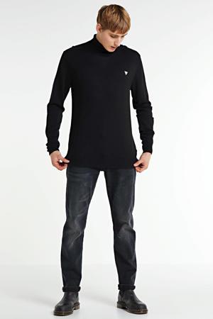 fijngebreide coltrui met wol zwart