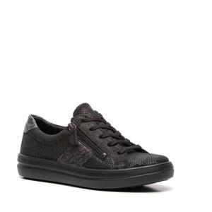leren sneakers met slangenprint zwart