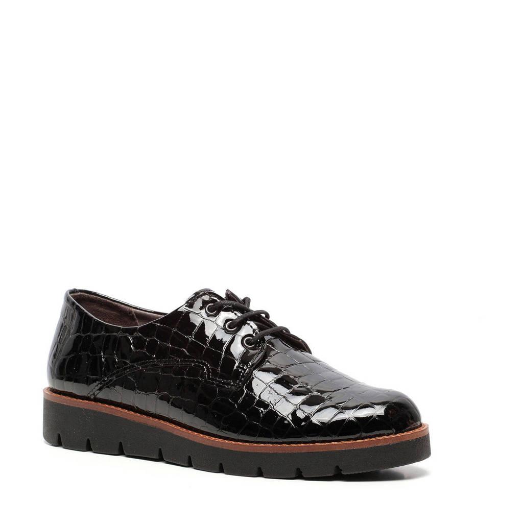 Hush Puppies   lakleren veterschoenen met crocoprint zwart, Zwart