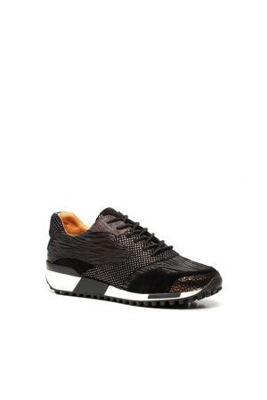 leren sneakers met dierenprint zwart