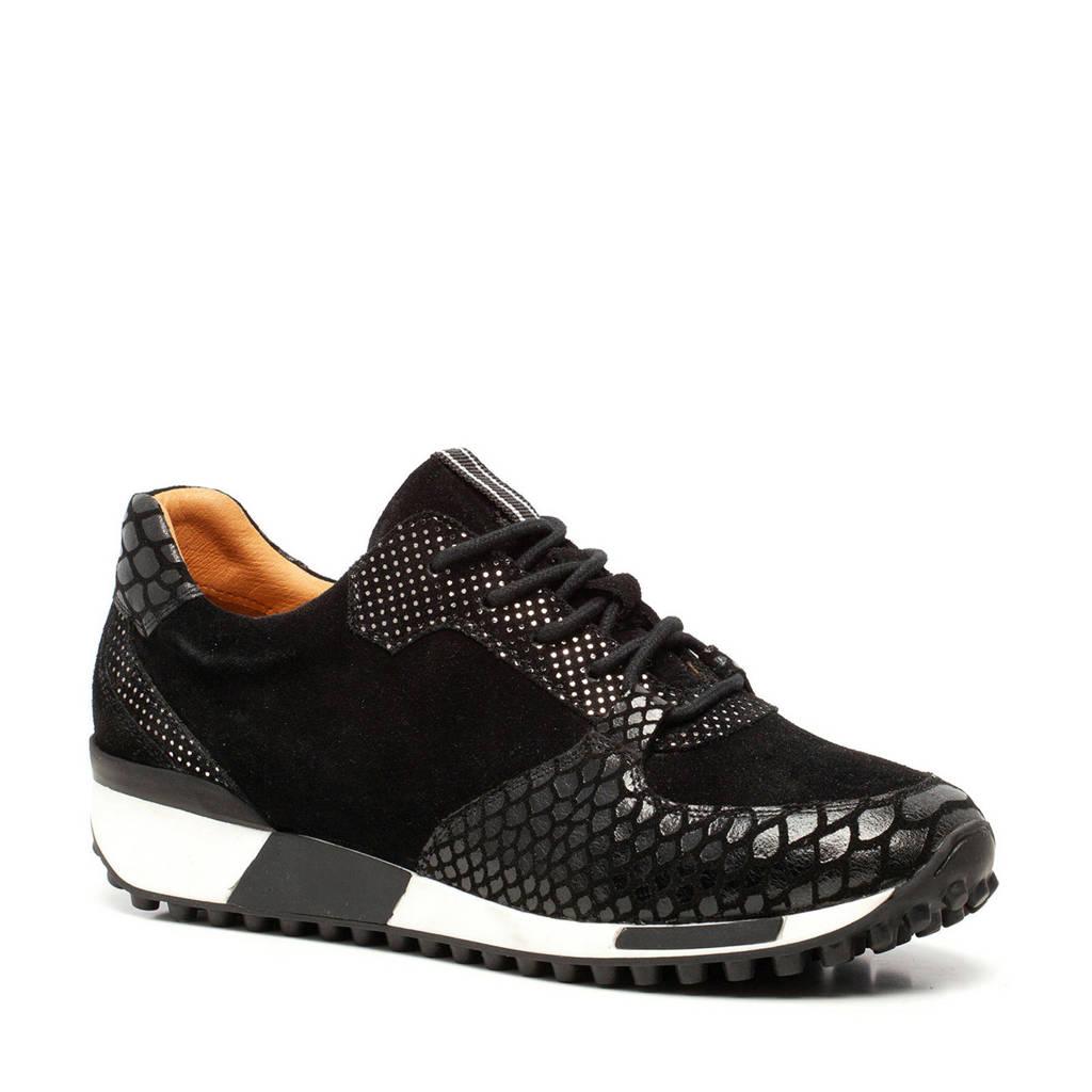 Scapino TwoDay   leren sneakers crocoprint zwart, Zwart