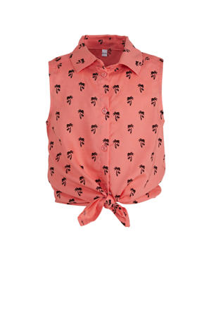 blouse met all over print zalm