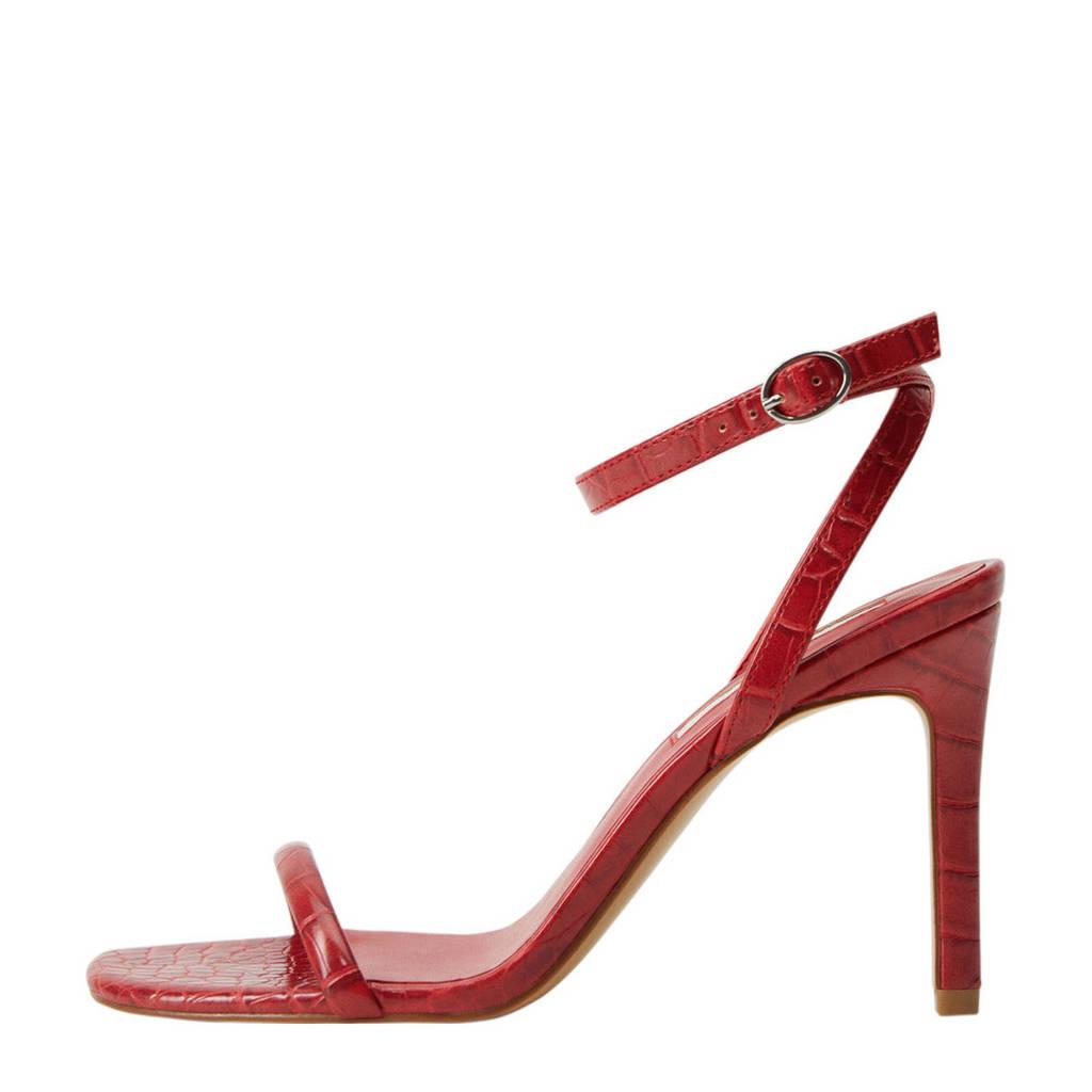 Mango   sandalettes crocoprint rood, Rood