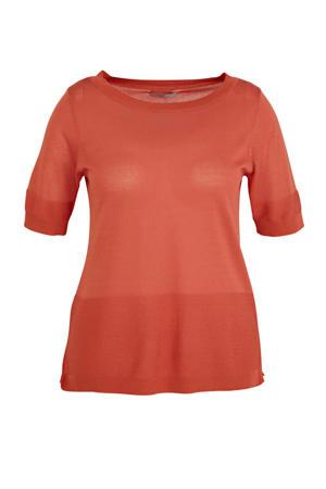fijngebreide trui met textuur oranje