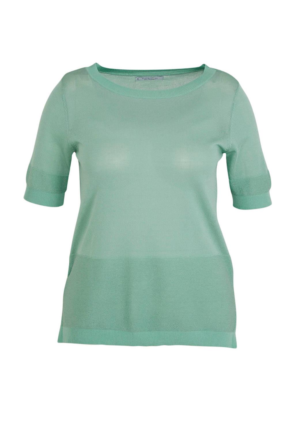 Violeta by Mango fijngebreide trui met textuur turquoise, Turquoise
