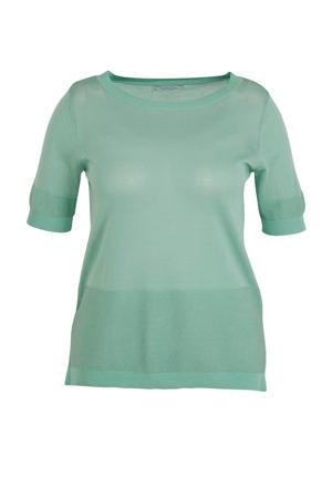 fijngebreide trui met textuur turquoise
