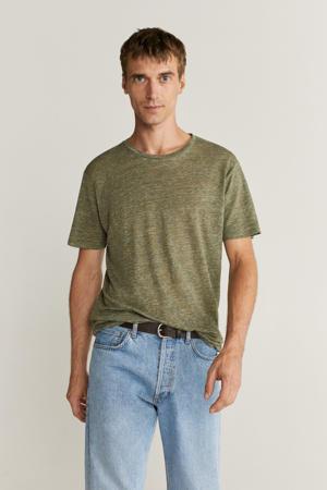 gemêleerd linnen T-shirt groen