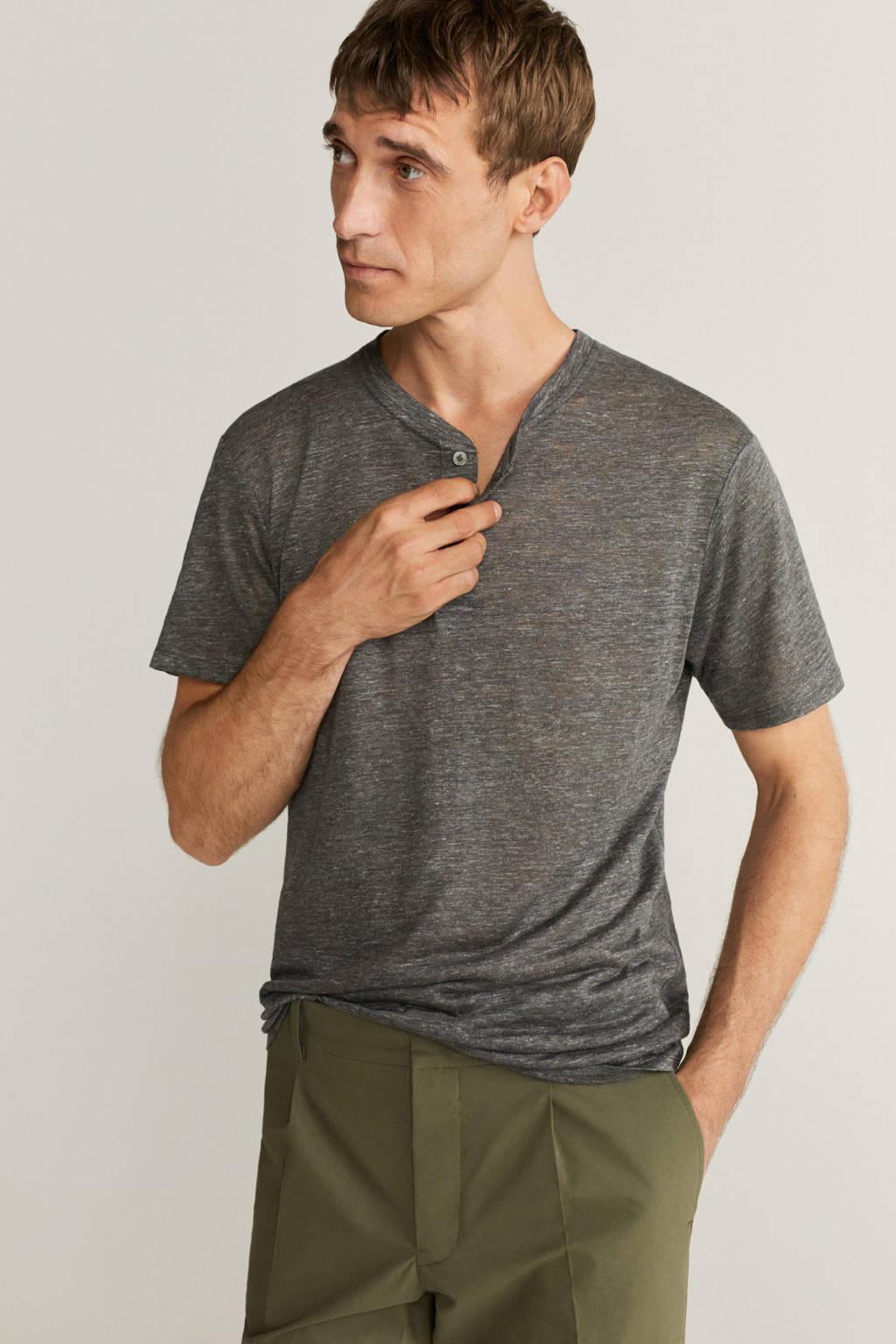 Mango Man linnen T-shirt grijs, Grijs