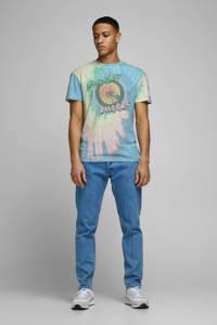 JACK & JONES ORIGINALS tie-dye T-shirt blauw/groen/geel, Blauw/groen/geel