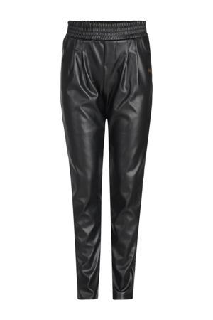 coated slim fit broek Ciska zwart