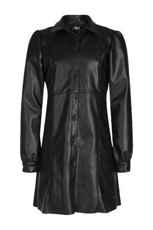 imitatieleren jurk Ciska zwart