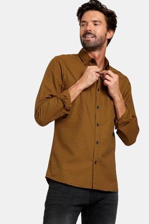 geruit slim fit overhemd Gers camel