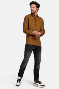 Refill by Shoeby geruit slim fit overhemd Gers camel, Camel
