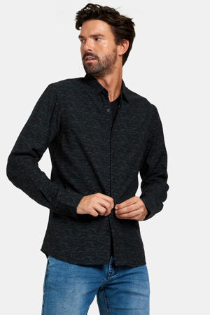 slim fit overhemd Gino met all over print zwart