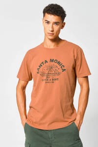America Today T-shirt met printopdruk oranje/groen, Oranje/groen