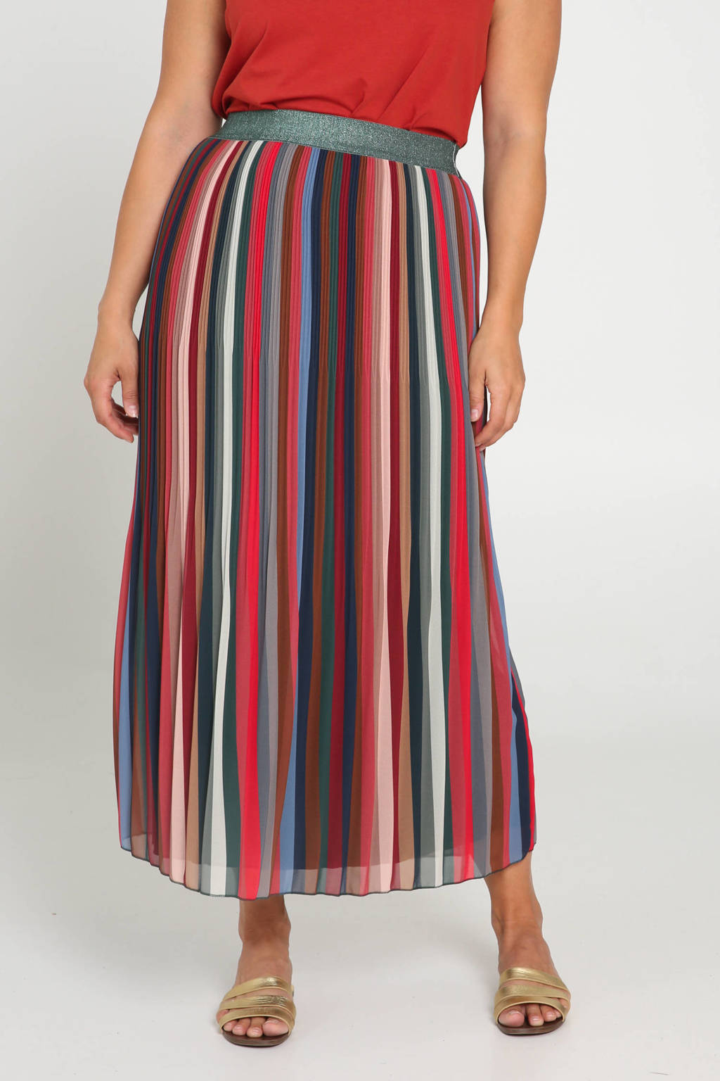 Paprika plissé rok met glitters multicolor, Multicolor