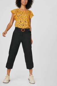 C&A Yessica cropped straight fit broek met linnen zwart, Zwart