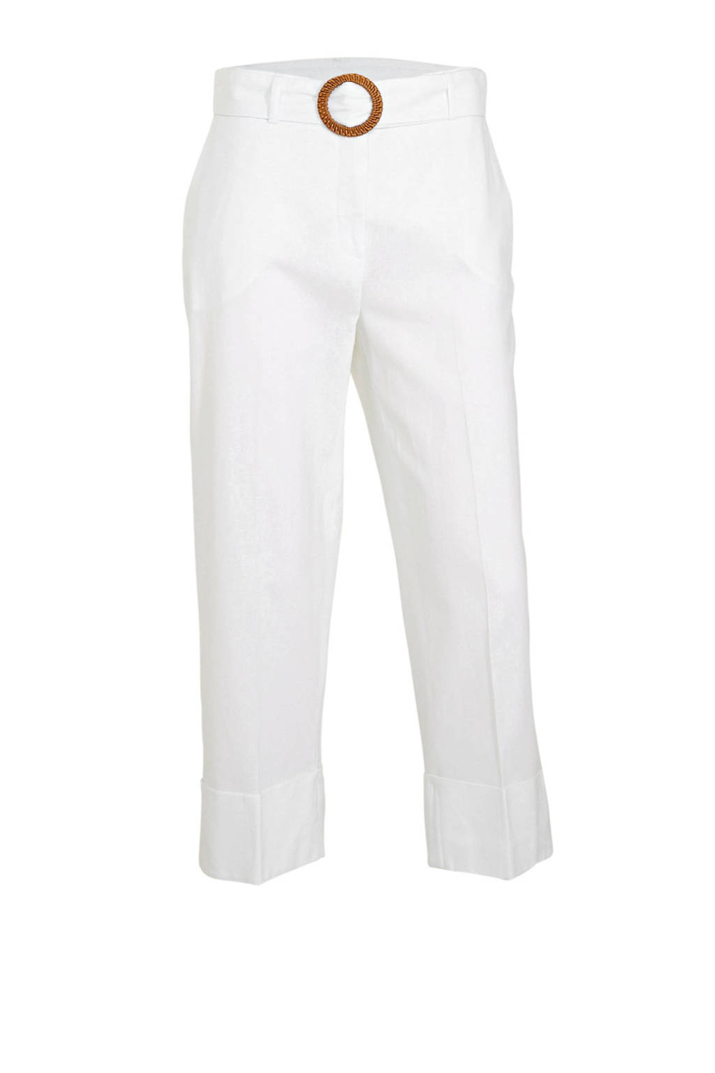 C&A Yessica cropped straight fit broek met linnen wit, Wit